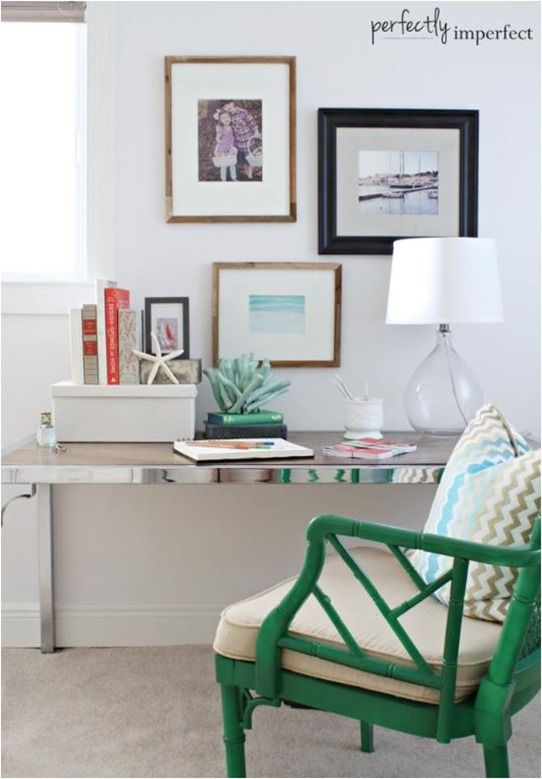 emerald green chair chrome desk (I wouldn't do a green chair, but definitely a different bold color)