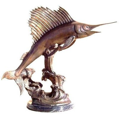 """Sailfish Bronze Sculptures, have been carefully selected for the discerning buyer. This Sailfish Bronze collection is ideal for galleries, upmarket retail shops and the interior decorator. Selected pieces are available in their natural bronze casting or silver plated. The artists have used the """"lost wax"""" process in casting, which is the preferred method, as it brings out every little detail of the original sculpture.  Height: 56cm Width: 30cm Length: 60cm"""