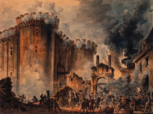 Bastille: The National Assembly stormed the Bastille in Paris, France on 14 July, 1789. It was a prison that represented royal authority in the center of Paris.