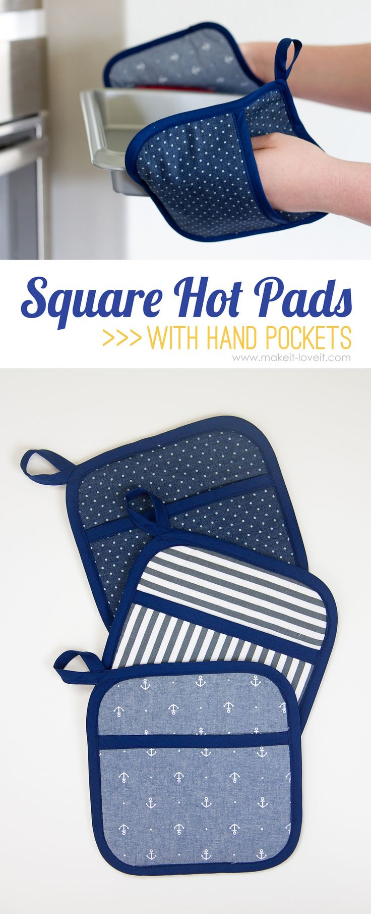 DIY Square Hot Pads...with Hand Pockets | via Make It and Love It