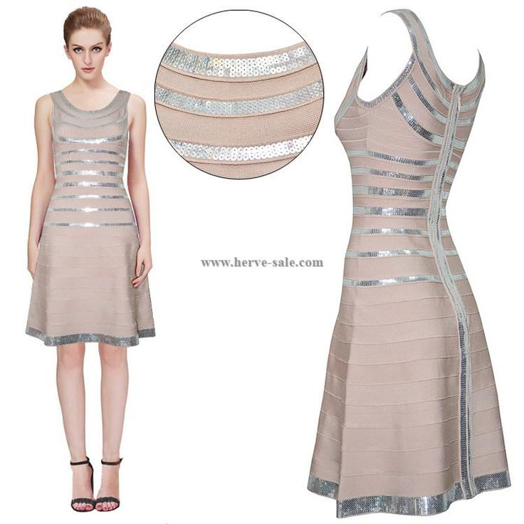 Herve Leger Apricot and Silver Sequins Flared Bandage Dress HL733AS