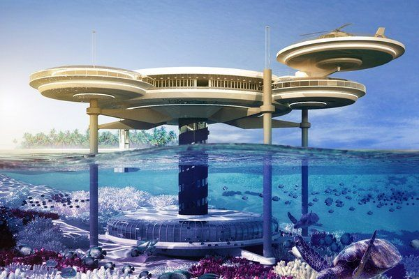 It looks futuristic and I like that half of it is underwater. Each section if the building is circular.