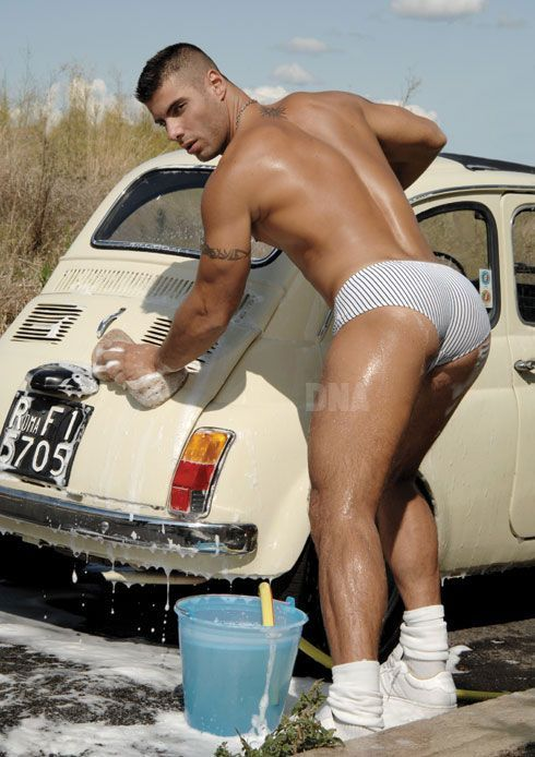 wash car Man naked