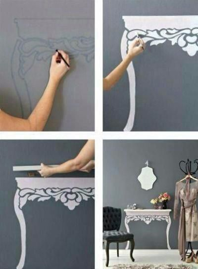 Hang a shelf and paint/stencil table legs on the wall. For small spaces. Bathroom?