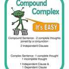 Students read a sentence and decide if it is a compound, or a complex sentence. Then students are prompted to write a few sentences.  Includes cove...