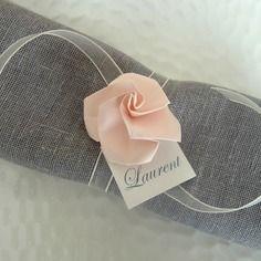 Marque place ronds de serviette  pour mariage en origami - rose pâle en papier - décoration table vintage - champêtre