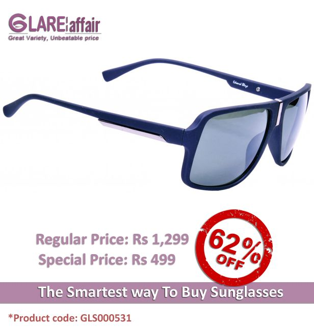 EDWARD BLAZE EB- 9811 BLUE SUNGLASSES http://www.glareaffair.com/sunglasses/edward-blaze-eb-9811-blue-sunglasses.html  Brand : Edward Blaze  Regular Price: Rs1,299 Special Price: Rs499  Discount : Rs800 (62%)