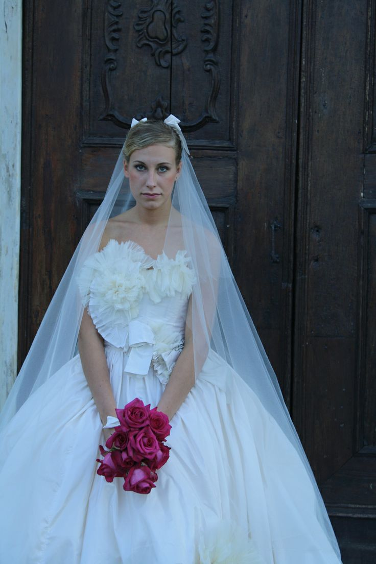 wedding dress with flowres