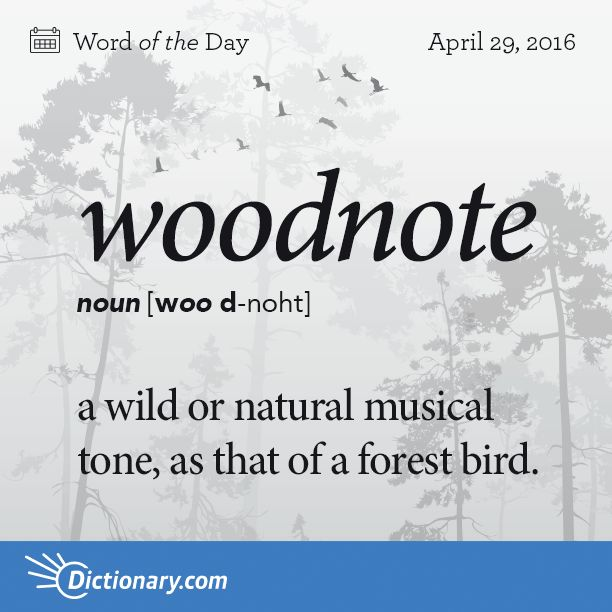 Dictionary.com's Word of the Day - woodnote - a wild or natural musical tone, as that of a forest bird.