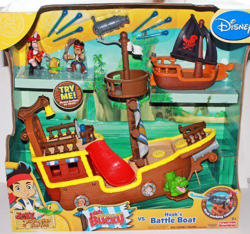 """Disney Jake and the Neverland Pirates Gift Set - Jake's Musical Pirate Ship & Hook's Battle Boat with Figures by Fisher-Price. $110.00. boat has 25 phrases, songs and music. includes Jake's Pirate Ship """"Bucky"""" which plays music when you push button (includes 3 """"AA"""" batteries). figures included: Jake, Hook, Skully the Parrot, Tick-Tock Croc. real launching cannon with 6 """"water balls"""". Hook's Battle Boat. Jake and the Neverland Pirates Gift Set. Includes 2 boats, 4 fig..."""