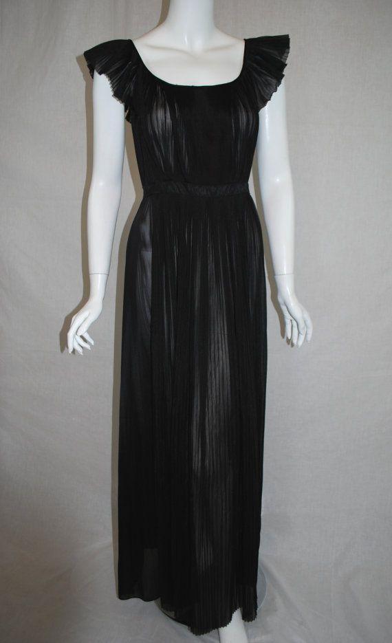 1950s Vanity Fair Black Sheer Nightgown 34 Perma Pleated