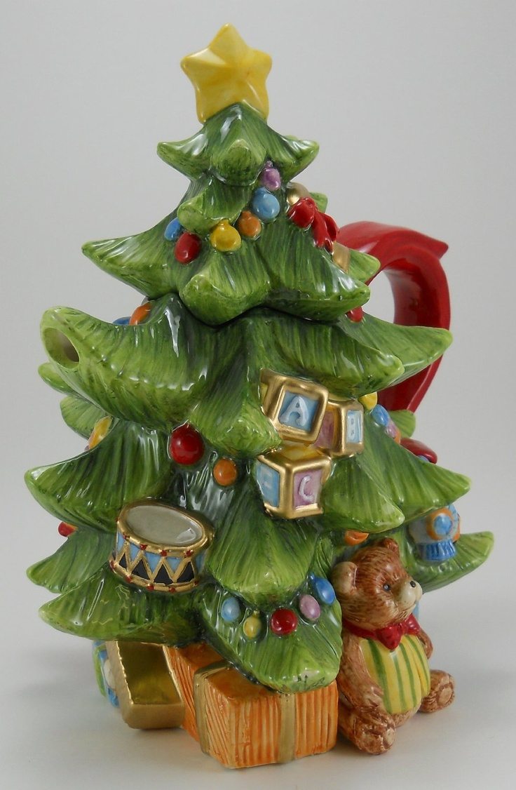 Toyland Christmas teapot in shape of tree decorated with toys, ceramic