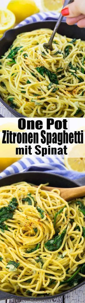 Super einfaches Rezept für Zitronenspaghetti mit Spinat. Nicht nur lecker …   – vegan