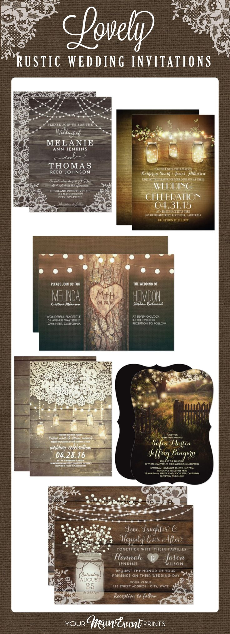 mini book wedding invitations uk%0A Rustic wedding invitations  vintage burlap  wood  mason jar wedding invites   country chic