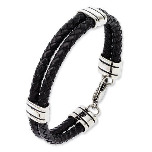 "Stainless Steel Black Leather 9in Bracelet Length 9"" Jewelry Adviser Bracelets. $41.00. Save 60% Off!"