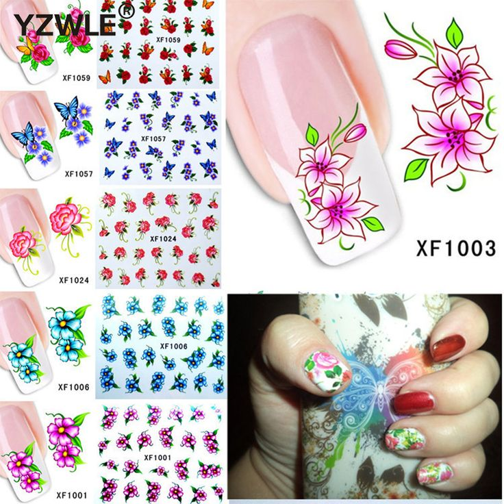 60Sheets Nail Art Flower Water Tranfer Sticker Nails Beauty Wraps Foil Polish Decals Temporary Tattoos Watermark XF1001-1060 #Affiliate