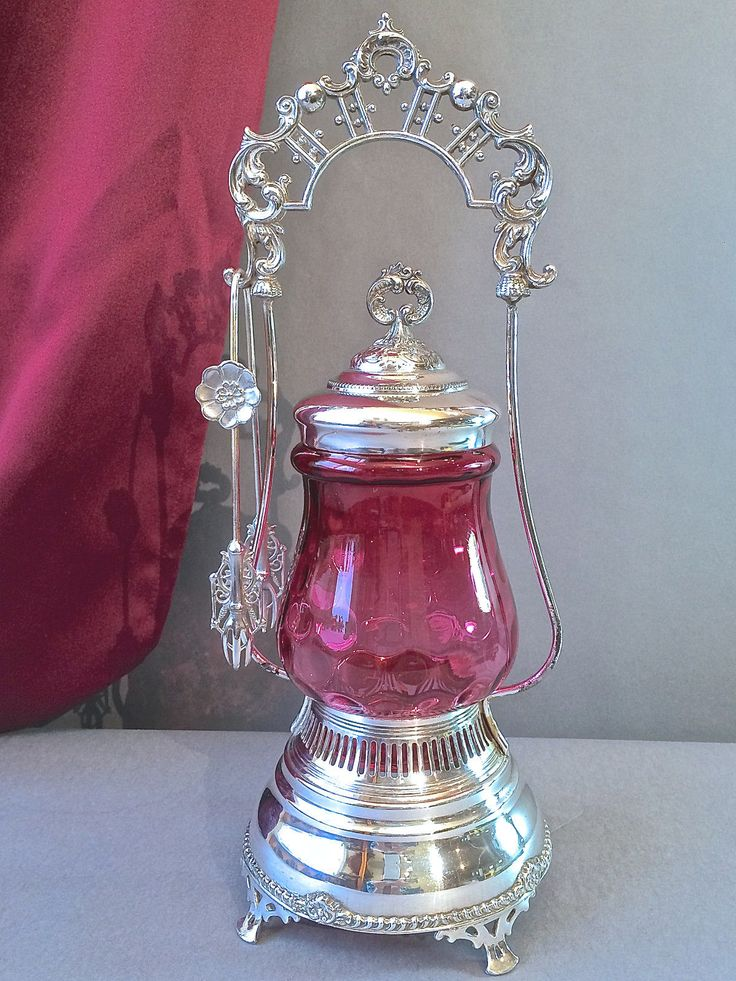 Старинный Симпсон холл Миллер посеребренное клюква отпечаток стекло огурец кастор | eBay