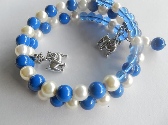Bulldogs, British Bulldog Charm memory Wire bracelet, Blue and White, Dog Lover, Great gift