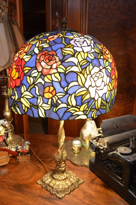 Art Nouveau Brass Dolphin Table Lamp With Mosaic Stain Glass Etsy Stained Glass Mosaic Mosaic Stained Mosaic