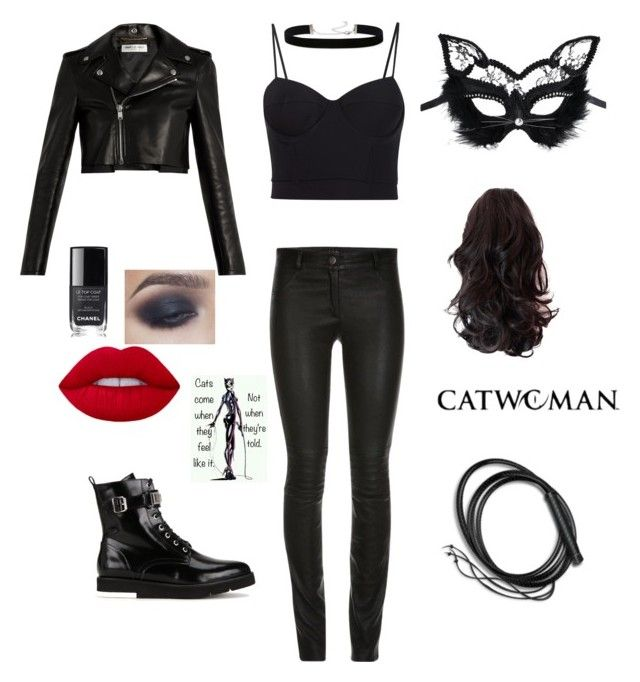 Catwoman costume/cosplay by batgirlxx on Polyvore featuring polyvore, fashion, style, Alexander Wang, Yves Saint Laurent, ElleSD, Love Moschino, 2028, Chanel, Masquerade, Rogues Gallery and clothing