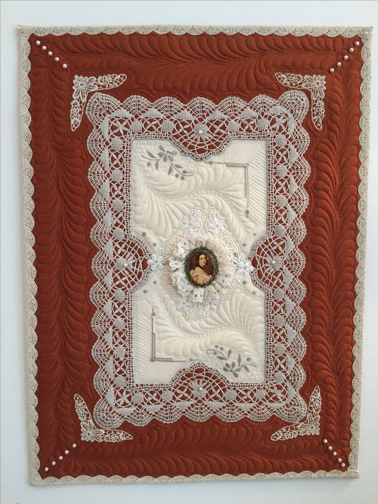 """Beautiful linen piece created by Carol Collett.  Measures 16.5 x 22""""."""
