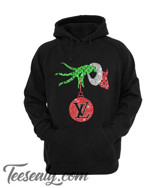 27ef9e282ba0 Grinch Hand Holding Louis Vuitton Christmas Hoodie