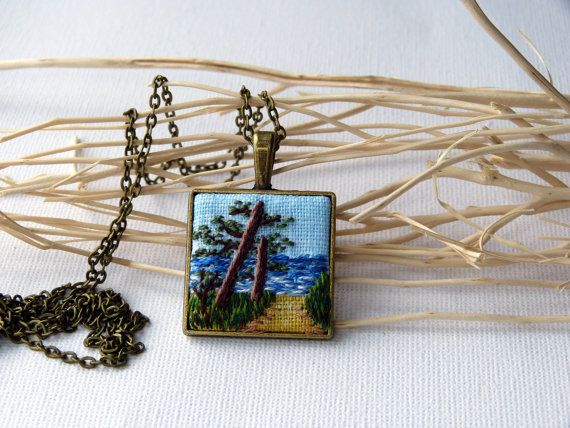 Embroidered pendant Landscape necklace  by EmbroideredJewerly