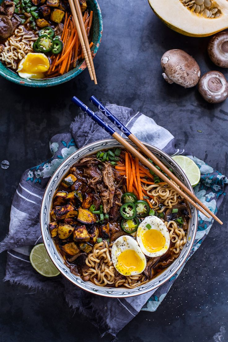 Crispy Caramelized Pork Ramen Noodle Soup with Curry Roasted Acorn Squash by Half Baked Harvest // 15 great slow-cooker recipes