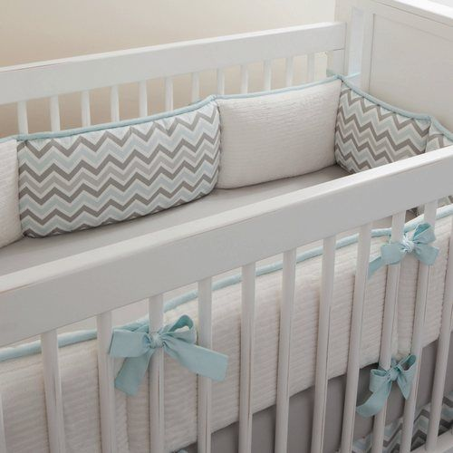 Mist and Gray Chevron Crib Bedding | Baby Bedding in Blue and Gray Zig Zag Stripes | Carousel Designs 500x500 image
