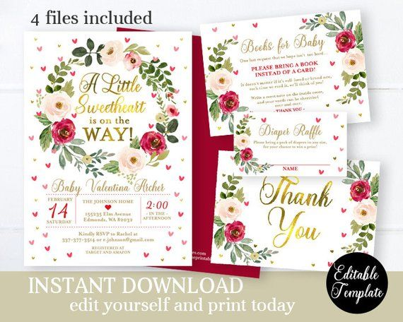 photograph relating to Printable Invitation Kit named Floral Sweetheart Little one Female Shower Invitation Package Editable