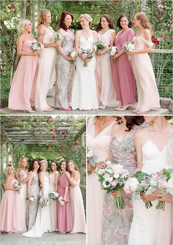 Rustic Wedding In Shades of Pink  Happily Ever After  Bridesmaid dresses Patterned bridesmaid