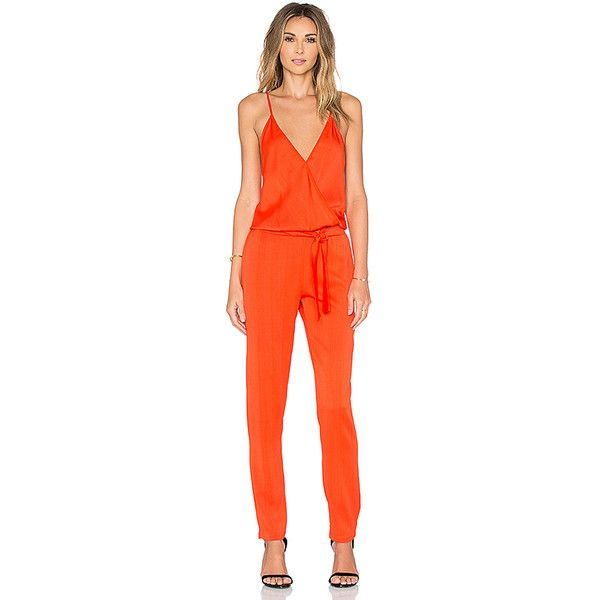 Karina Grimaldi Maday Jumper ($305) ❤ liked on Polyvore featuring jumpsuits, rompers & jumpsuits, playsuit romper, orange jumpsuit, karina grimaldi, orange romper and romper jumpsuit