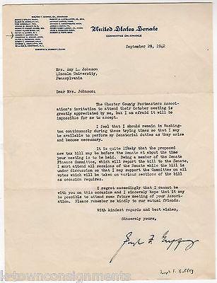 JOSEPH GRUFFEY PENNSYLVANIA SENATOR POSTMASTER ASSOCIATION AUTOGRAPH SIGNED NOTE