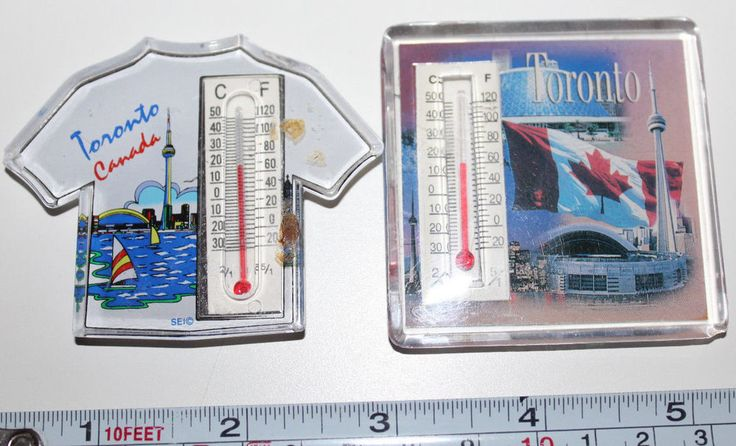 2 x Toronto Canada Thermometer Magnets CN Tower