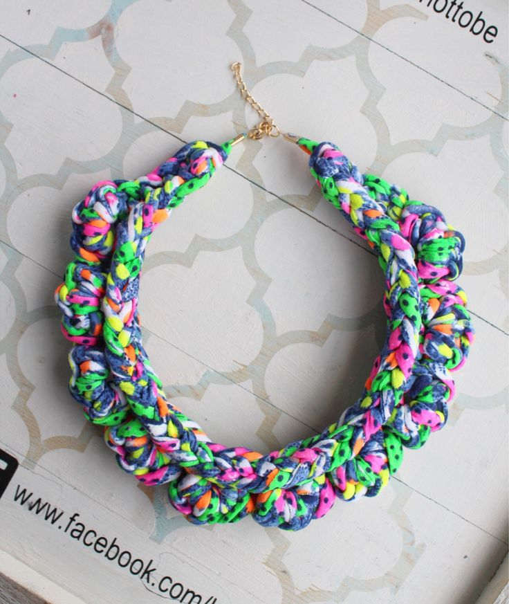A personal favourite from my Etsy shop https://www.etsy.com/ie/listing/553824023/neon-fabric-bib-necklace-chunky