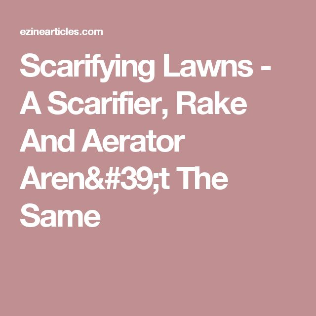 Scarifying Lawns - A Scarifier, Rake And Aerator Aren't The Same