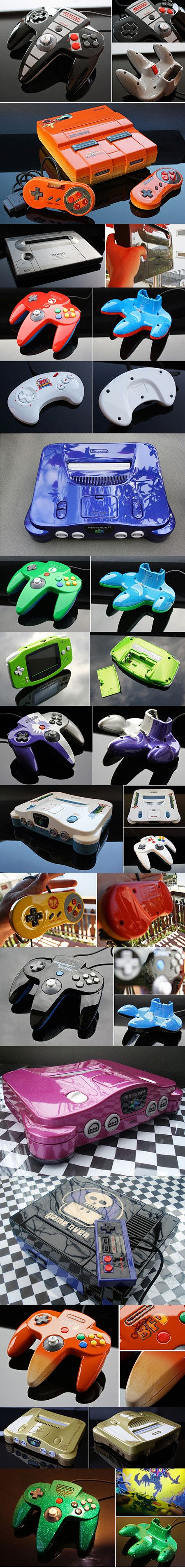 "DeviantArt user Zoki64 breaks away from the boring classic video game console designs by giving them fresh new paint jobs. LOVE the ""game over"" NES system!"