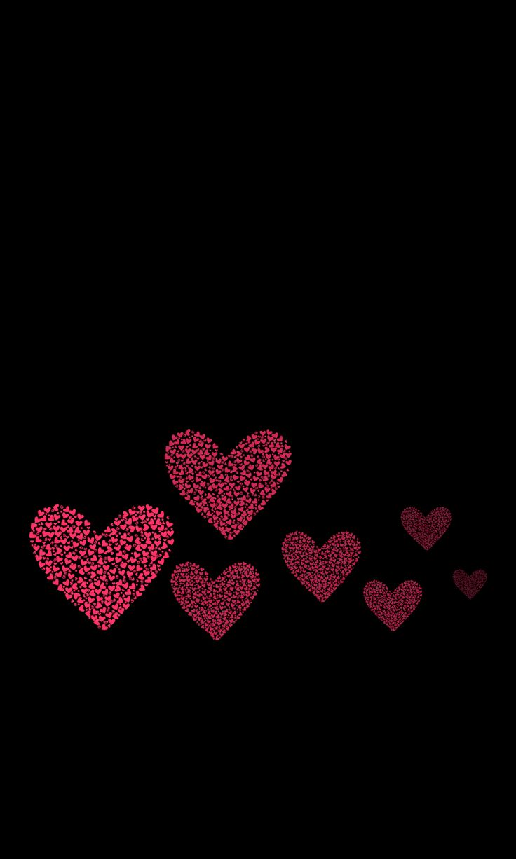 Wallpaper iphone black red - Valentine Red Hearts Over Black Background Wallpaper