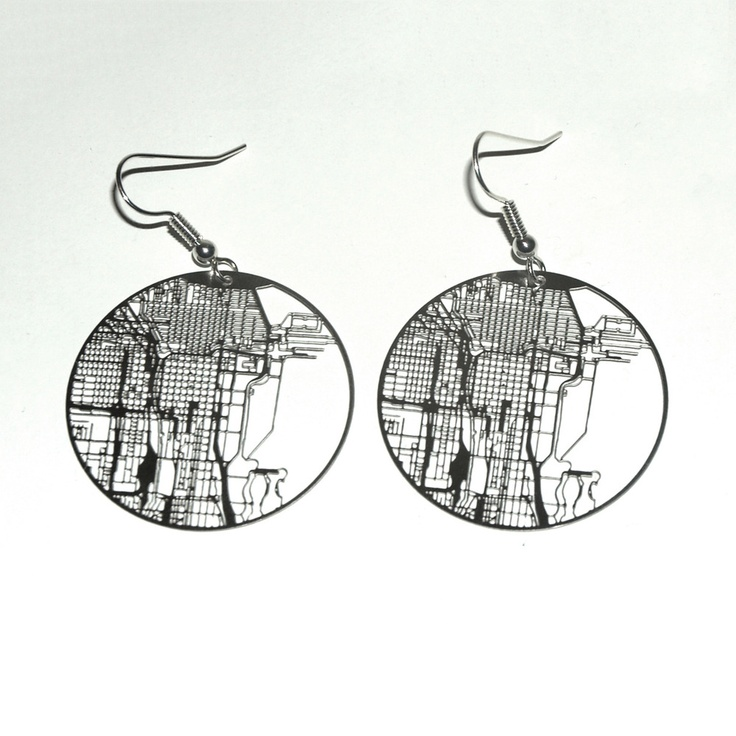 Chicago Map Grid%0A Urban Grid Earrings  Chicago MapThe