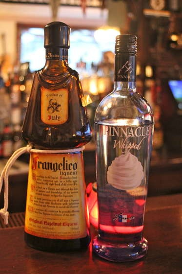 """um what?? -- """"Chocolate covered pretzel shot    Always drink responsibly and use a designated driver!    What you will need:        1oz whipped vodka      1oz Frangelico (hazelnut flavored liqueur)      Salt      Shot glass      Shaker      Ice"""""""