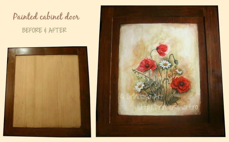 Brîndușa Art Part of a painted piece of furniture… Painted door (acrylics on wood) – before & after. Vintage look.The request was for poppies – and any other kind of wild flowers of my choice. Parte a unei piese de mobilier pictate… Uşă pictată (culori acrilice pe lemn) – înainte şi după. Aspect vintage. cu orice alte flori de câmp. #beforeandafter #flowers #poppies #flori #maci #woodpainting #paintedfurniture #mobilapictata #vintage #acrylics #acrilice