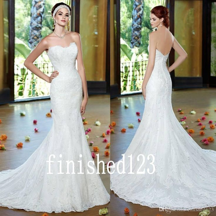 Charming Sweetheart Mermaid Wedding Dresses Strapless Lace Applique Chapel Train Bridal Gowns Custom Made No:552 Shop Wedding Dress Simple Mermaid Wedding Dresses From Finished123, $146.6| Dhgate.Com