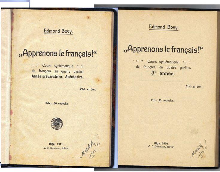 Antique WW1 Learn French Edmond Bovy 2 book 1911 - 1914 J.C Sichmann signed Riga