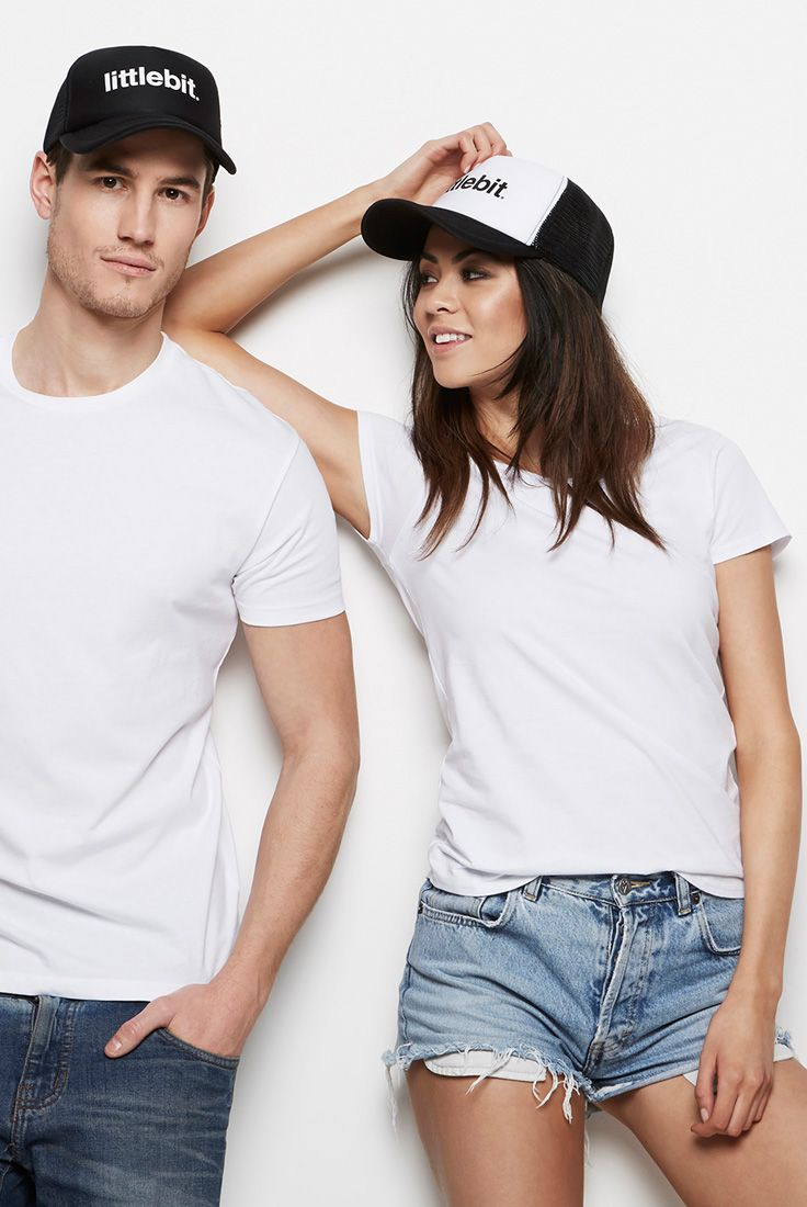 Quality womens basic tees & caps from littlebit.com. #littlebit #womensclothing #womenstees #scoopneck #basics #tees #streetstyle #truckerhats #hats #caps