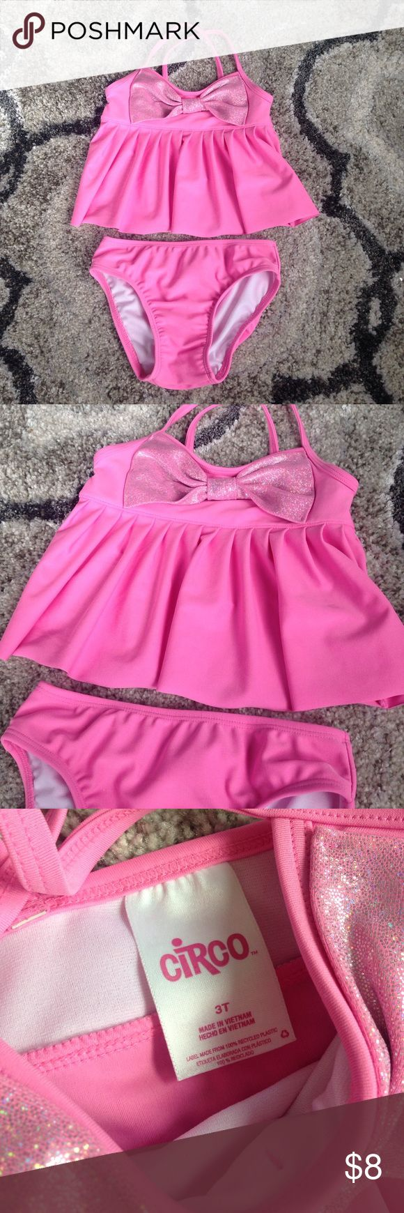 Circo pink tankini swimsuit Washed but not worn! Excellent condition! Pretty pink with sparkly bow. Circo Swim