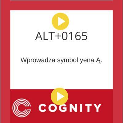 Skrót klawiaturowy w Excelu, więcej na www.cognity.pl