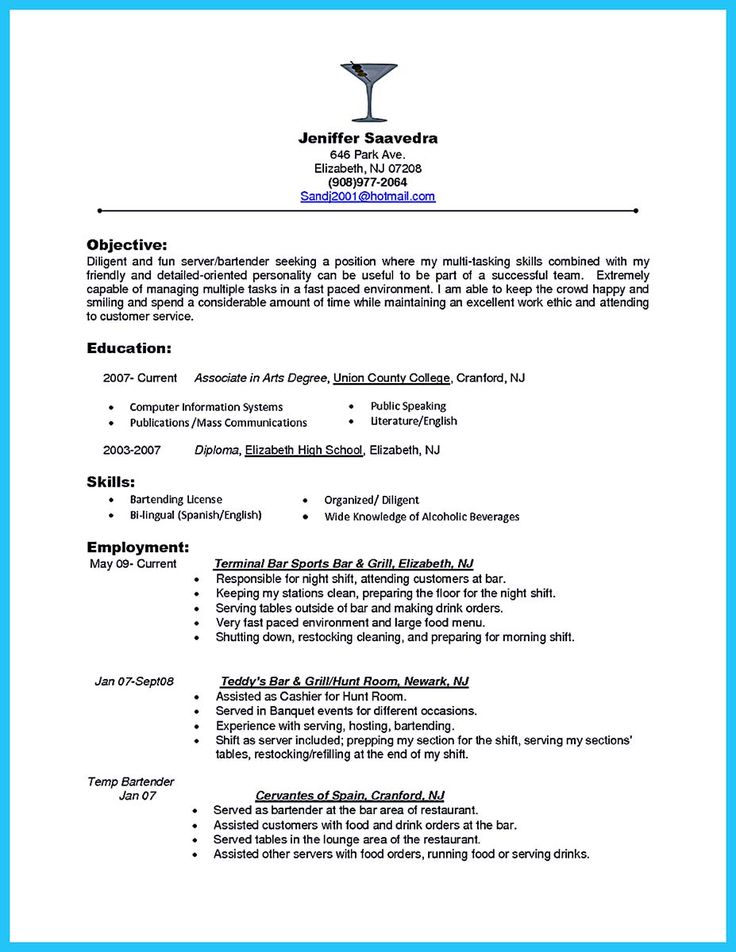 20 best Résumé images on Pinterest Career, Resume templates and - bartending resume template
