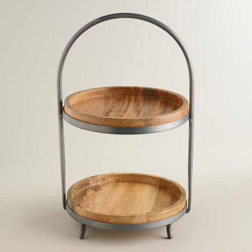 Wood And Metal 2 Tier Serving Stand World Market