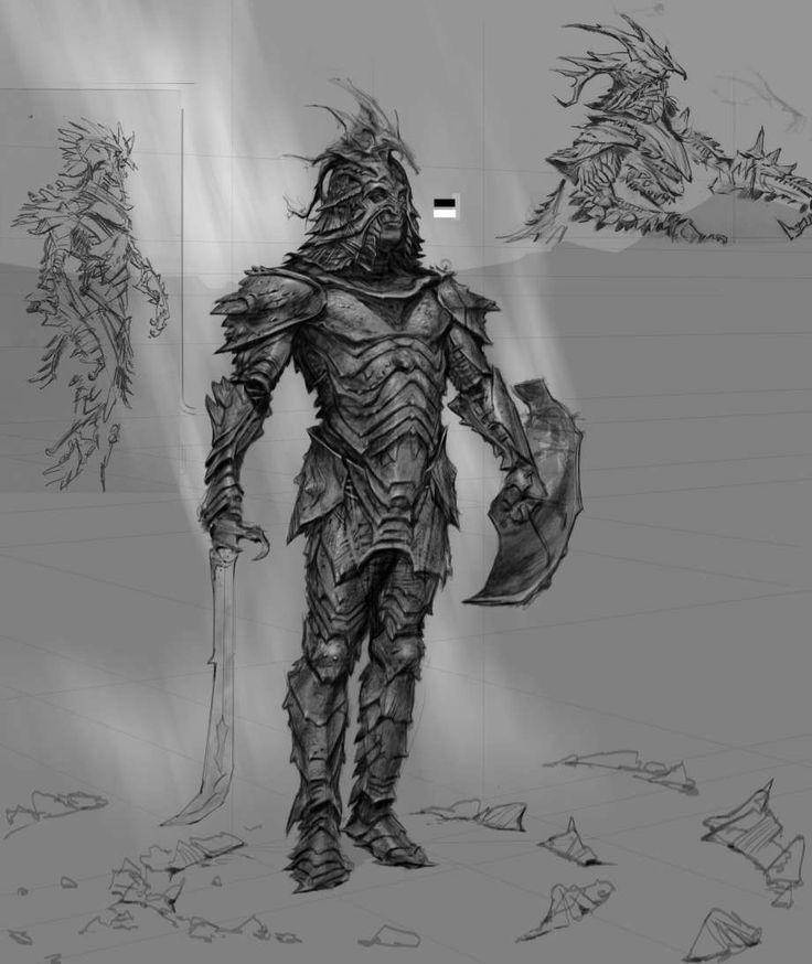 Dragon Armor concept art from The Elder Scrolls V: Skyrim by Adam Adamowicz