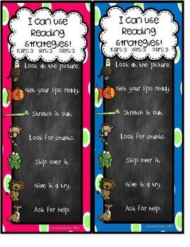 Bright Chalkboard Reading Strategies Bookmark {FREEBIE}